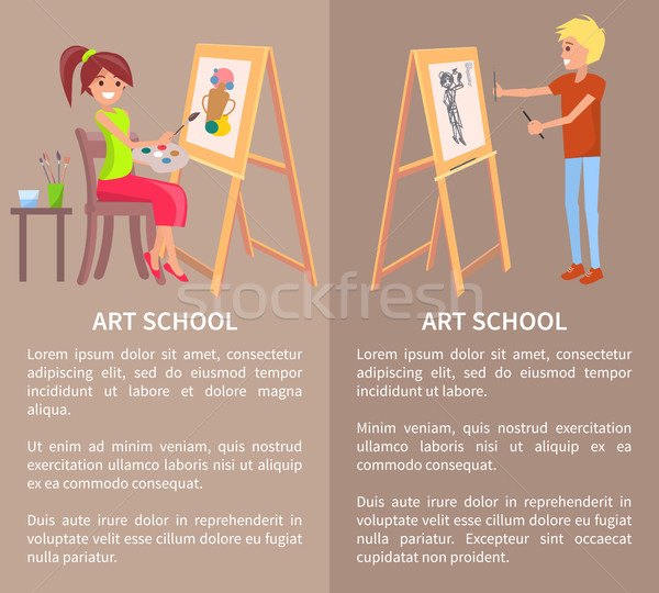 Man and Woman Drawing Pictures on Easel by Pencils Stock photo © robuart