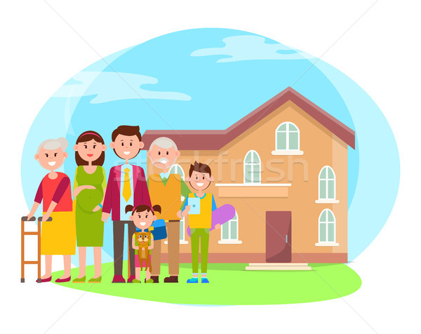 Family anf Building Poster Vector Illustration Stock photo © robuart