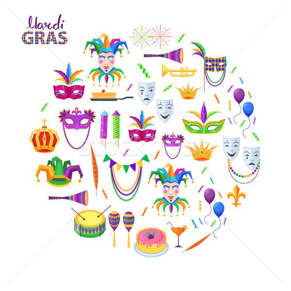 карнавальных вектора музыкальные инструменты украшение Элементы Сток-фото © robuart