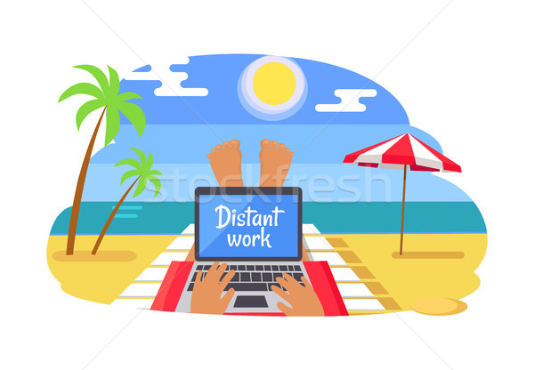 Stockfoto: Freelancer · afgelegen · werk · tropisch · strand · man