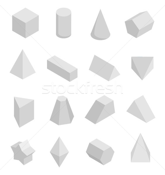 Monochrome Prisms Set Isolated on White Backdrop Stock photo © robuart