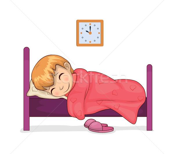 Lány alszik szoba óra mutat idő Stock fotó © robuart