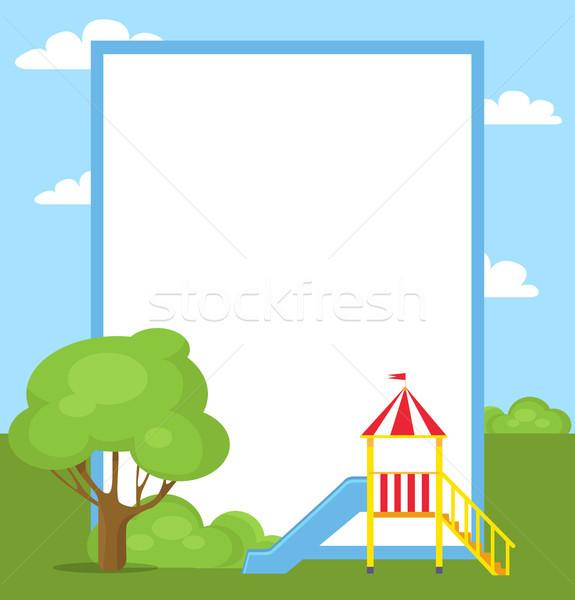 Grande azul Slide ninos amarillo escalera Foto stock © robuart