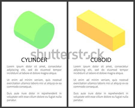 Pentagonal and Hexagonal Prisms on Web Posters Set Stock photo © robuart