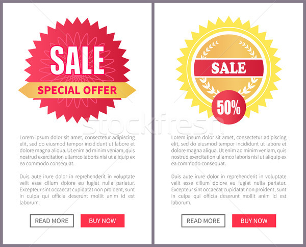 Special Offer Sale Round Stickers on Leaflets Text Stock photo © robuart