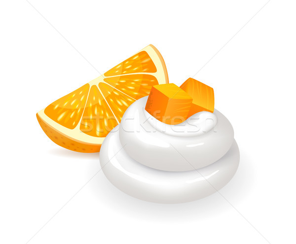 Orange slice vers swirl slagroom sappig citrus fruit Stockfoto © robuart