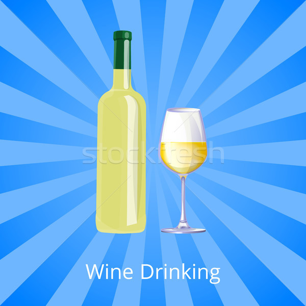 Wine Drinking Poster Bottle of White Wine and Gass Stock photo © robuart