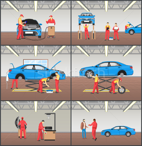 Auto Service and Car Garage Color Vector Cards Set Stock photo © robuart