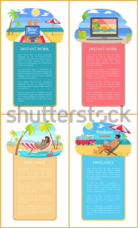 Distant Work Leaflet Poster Open Notebook Tropics Stock photo © robuart