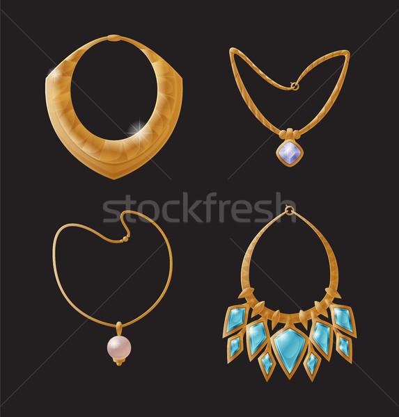 Collier glamour ensemble or riche dames Photo stock © robuart