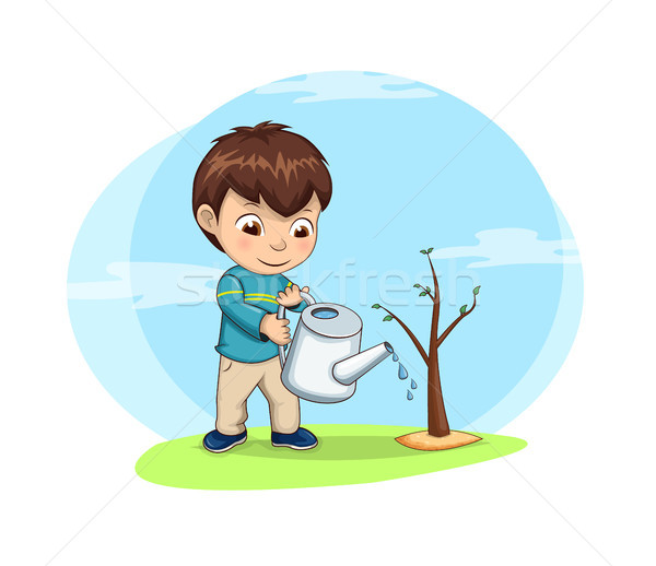 Cute Little Boy Waters Young Sprout of Tree Stock photo © robuart