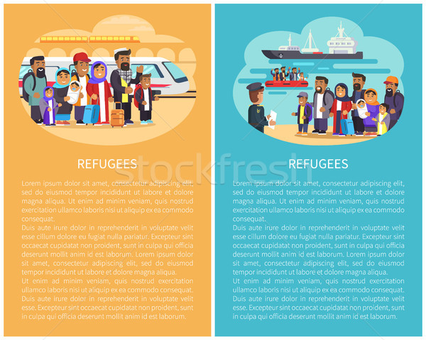 Refugee People at Station Vector Illustration Stock photo © robuart