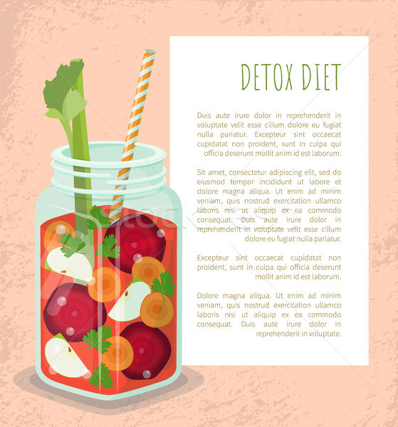 Detox Diet Poster Mug with Refreshing Drink Vector Stock photo © robuart