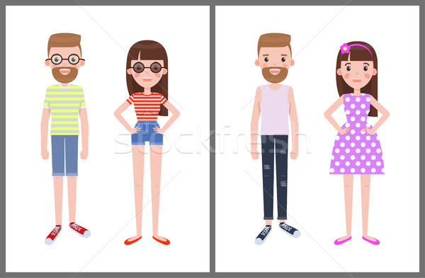 Man and Woman Everyday Apparel Vector Illustration Stock photo © robuart