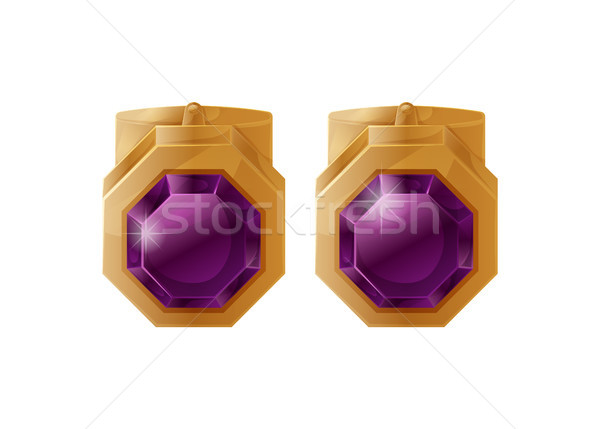 Golden Earrings with Treasure Stones Color Pattern Stock photo © robuart