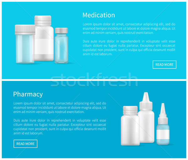 Medication and Pharmacy Web Banner Empty Container Stock photo © robuart