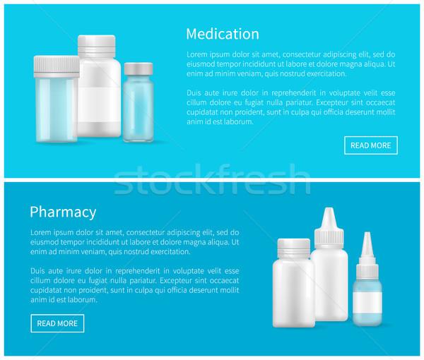 Farmácia teia bandeira vazio recipiente Foto stock © robuart