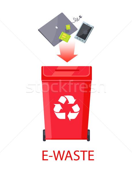 Cartaz manchete vermelho reciclagem símbolo Foto stock © robuart