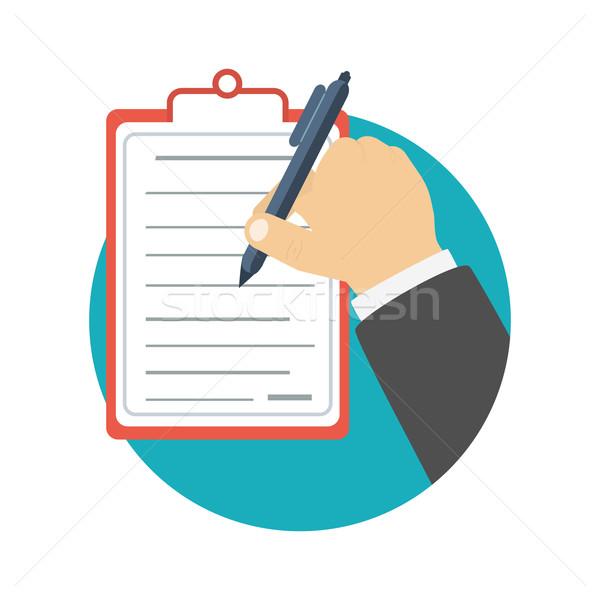 Foto stock: Empresario · portapapeles · escrito · firma · negocios