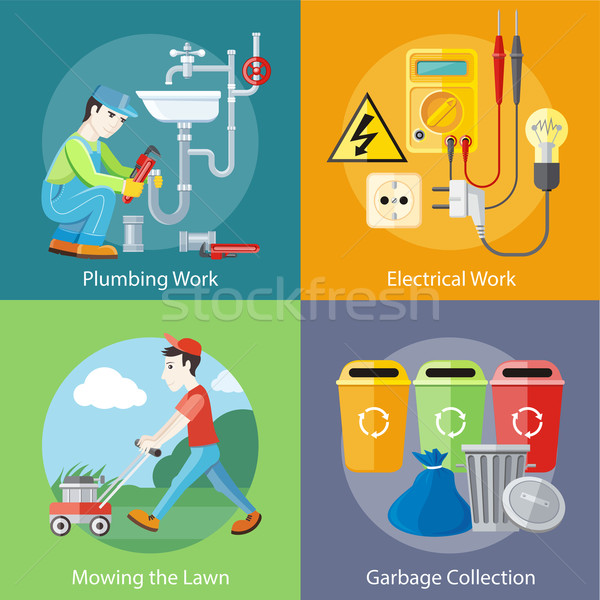 Electrical, Plumbing Work, Mowing Lawn and Garbage Stock photo © robuart