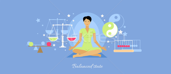 Balanced State Woman Icon Flat Isolated Stock photo © robuart