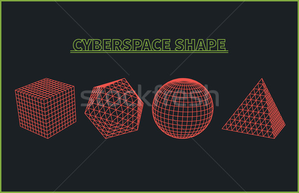 Abstract cyberspace grid landschap meetkundig Stockfoto © robuart