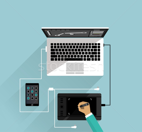 Graphic Design Workspace Tablet and Laptop Stock photo © robuart