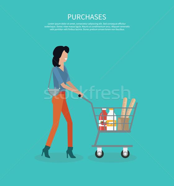 Kobieta koszyka projektu sklep klienta kupić Zdjęcia stock © robuart