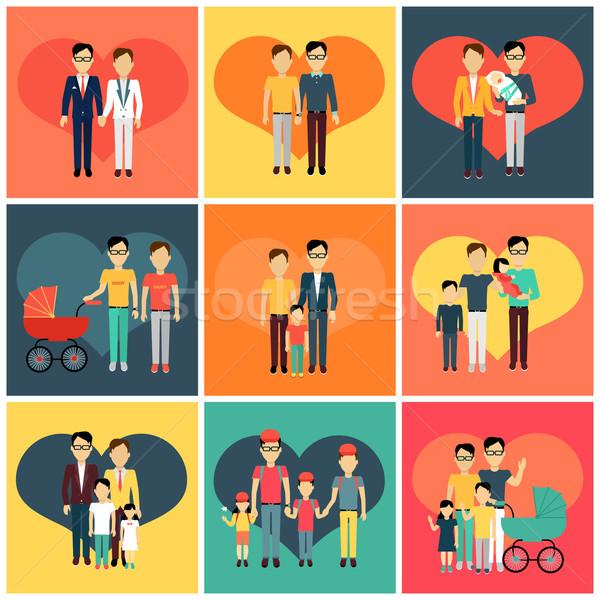 Glückliche Familie Banner Design Set Stil Stock foto © robuart