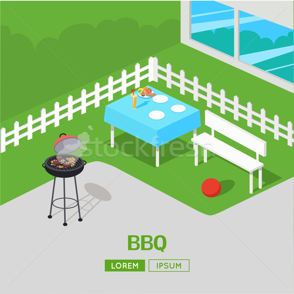 Ház udvar barbecue BBQ buli izometrikus Stock fotó © robuart