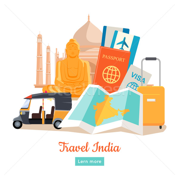 Travel India Conceptual Poster Stock photo © robuart