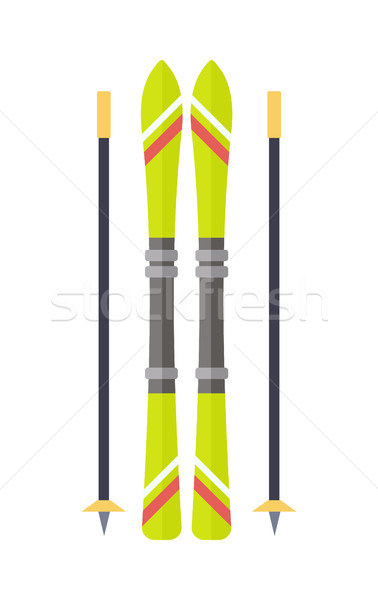 Ski and Sticks Isolated. Skiing Gear Set. Vector Stock photo © robuart
