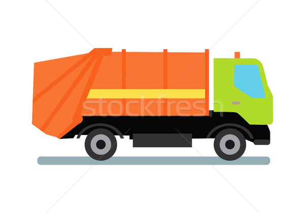 Orange Garbage Truck Stock photo © robuart