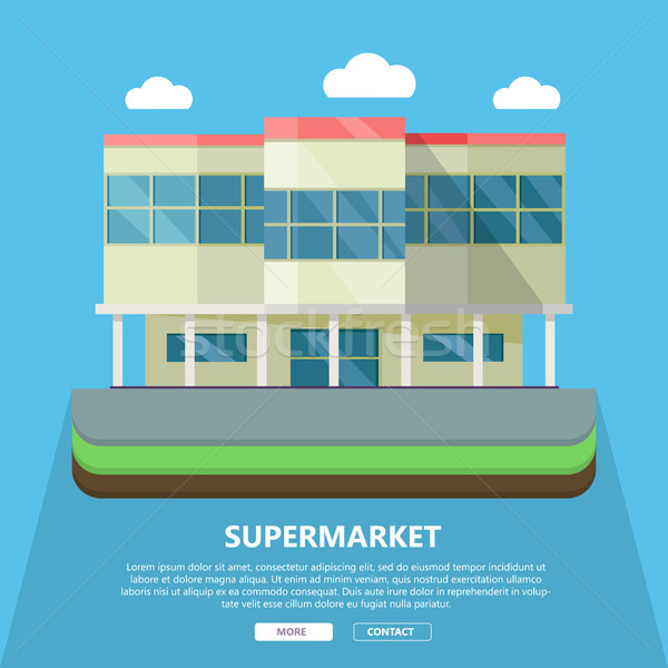 Supermarket Web Template in Flat Design Stock photo © robuart