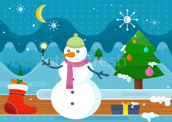 Snowman in Green Hat and Pink Scarf. Wonderland Stock photo © robuart
