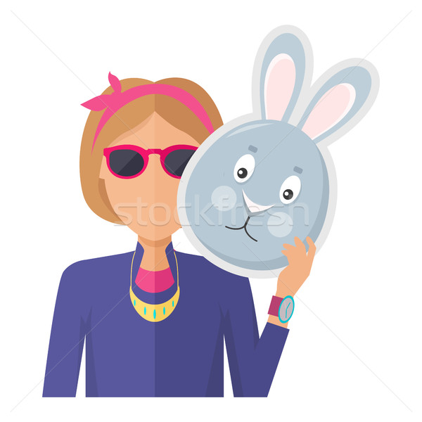 Woman with Rabbit Mask Flat Design Vector Stock photo © robuart