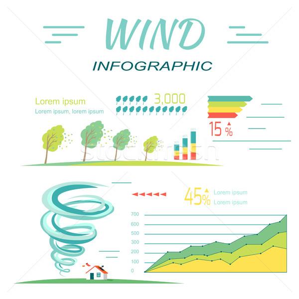 Szél infografika tornádó bannerek minimális extrém Stock fotó © robuart
