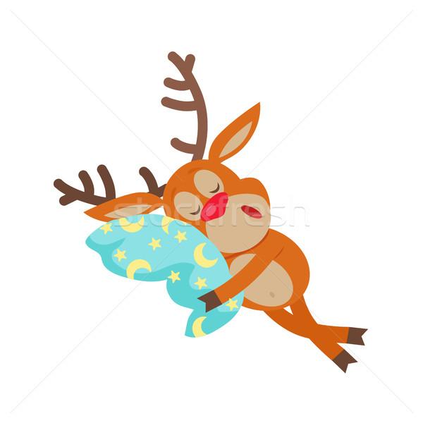 Deer Sleeping on Pillow Isolated. Reindeer Sleeps Stock photo © robuart