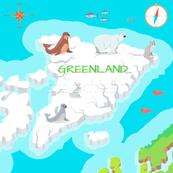 Greenland Mainland Cartoon Map with Fauna Species  Stock photo © robuart