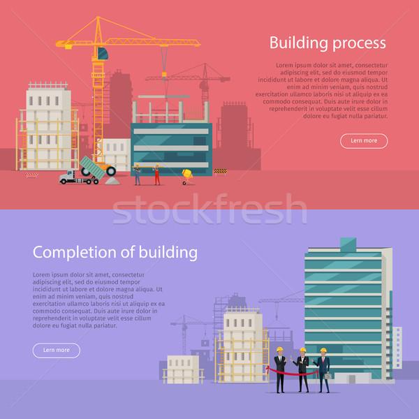 здании процесс завершение вектора строительство жилой Сток-фото © robuart