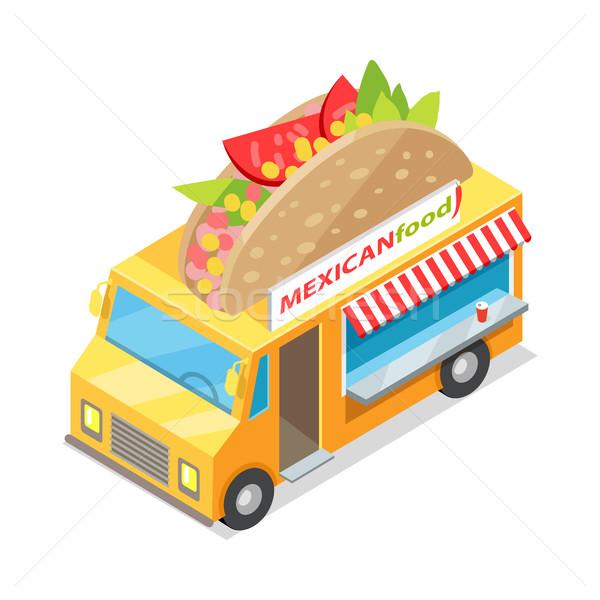 Comida mexicana calle proyección ruedas icono Foto stock © robuart