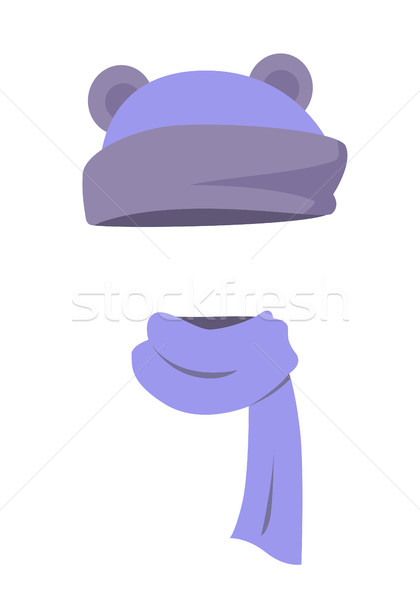 Violet Hat with Ears and Long Silk Scarf. Vector Stock photo © robuart