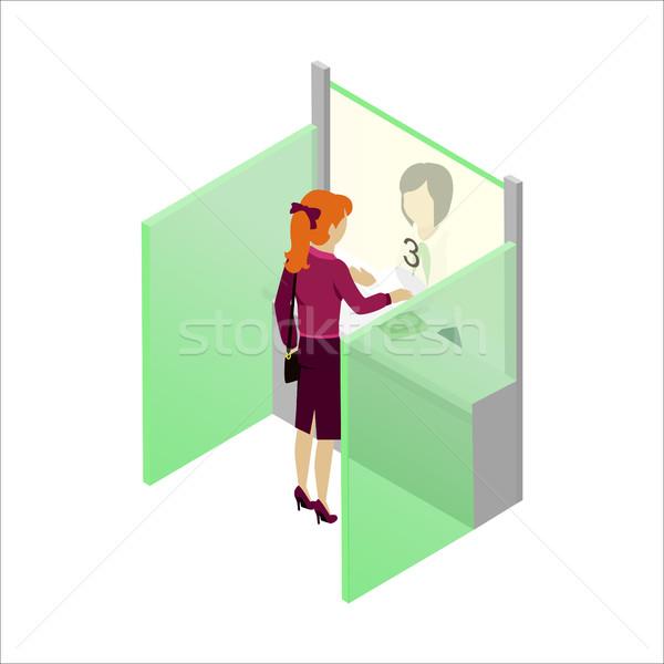 Kassa bank vector isometrische projectie vrouw Stockfoto © robuart