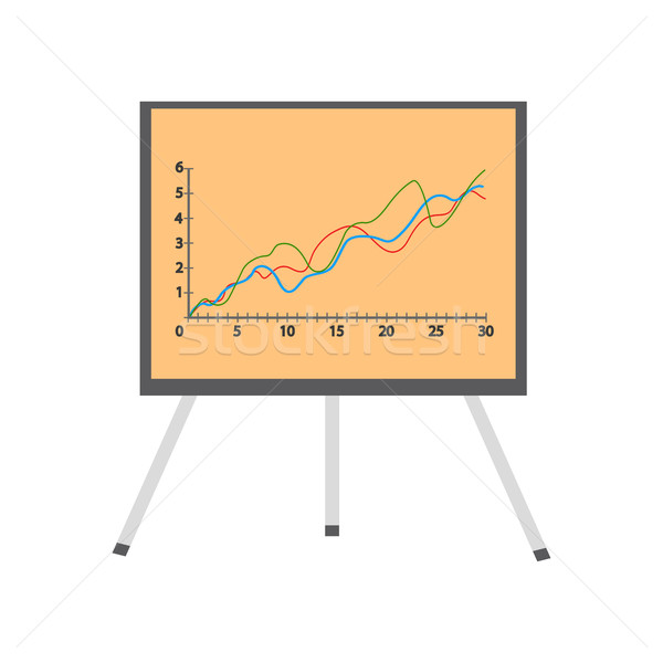 Presentation Screen with Stock Lines Isolated. Stock photo © robuart