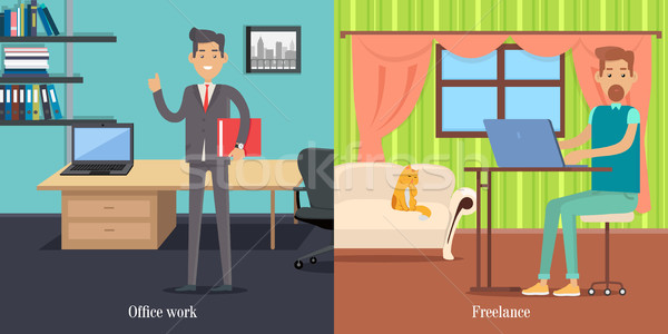 Office Worker at Working Place. Freelancer at Work Stock photo © robuart