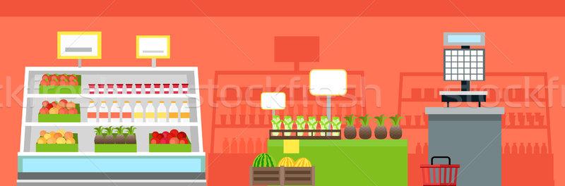 Сток-фото: продуктовых · магазин · интерьер · вектора · дизайна