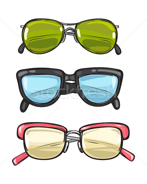 Three Pairs of Sun Glasses. Different Spectacles Stock photo © robuart