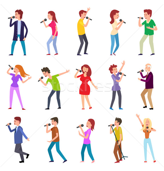 Singing Characters Isolated. Man Woman Entertain Stock photo © robuart