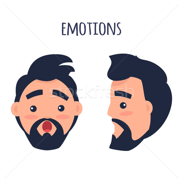 Surprised Emotion. Face from Different Angles Vector Stock photo © robuart