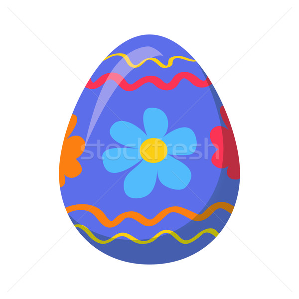 Easter Egg with Ornamental Lines and Blue Flowers Stock photo © robuart